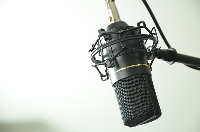 a microphone to recording